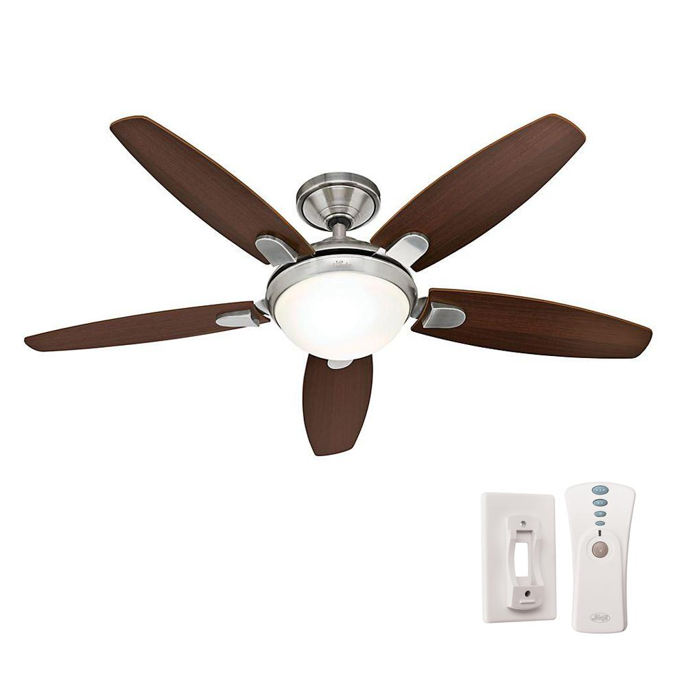 Hunter contempo 52 in indoor brushed nickel ceiling fan with hunter contempo 52 in indoor brushed nickel ceiling fan with universal remote and light 59013 the home depot mozeypictures