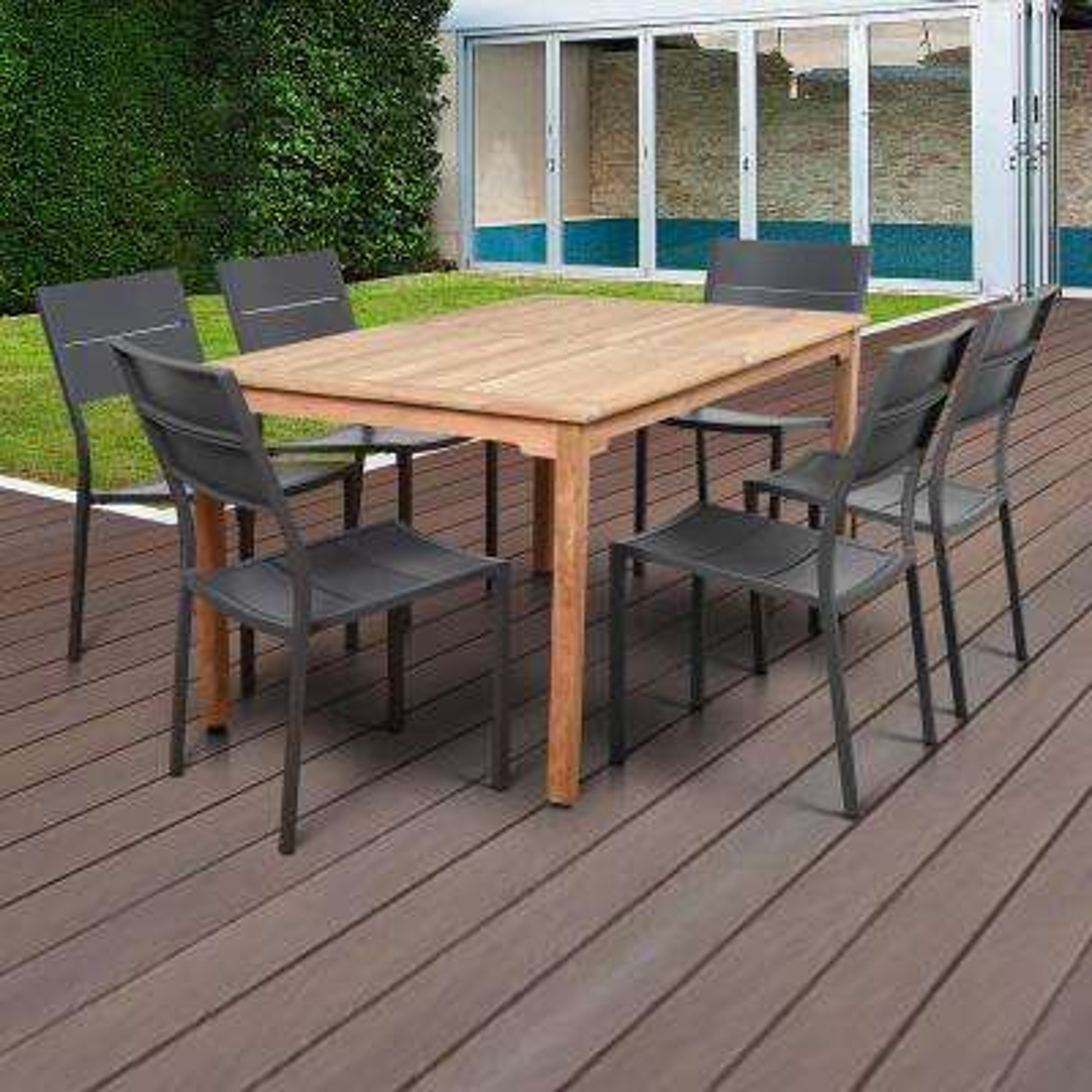 Bryant Grey 7-Piece Wood Rectangular Outdoor Dining Set