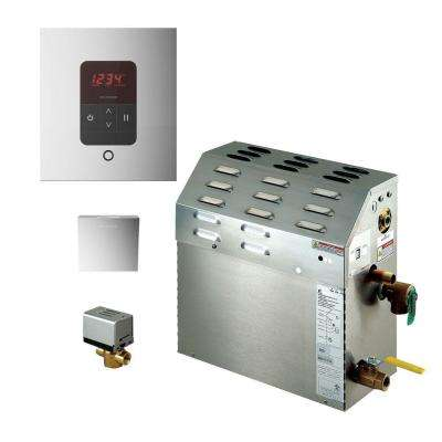 9kW Steam Bath Generator with iTempo AutoFlush Square Package in Polished Chrome