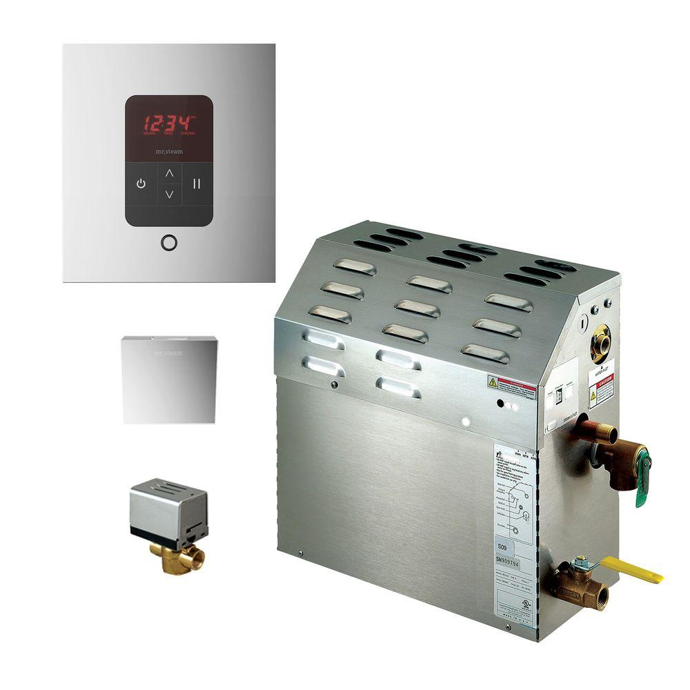 9kw steam bath generator with itempo autoflush square package in polished chrome - Steam Shower Generator