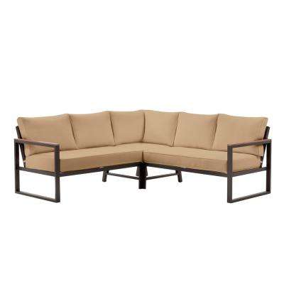 West Park Aluminum Outdoor Patio Sectional Sofa Seating Set with CushionGuard Toffee Tan Cushions
