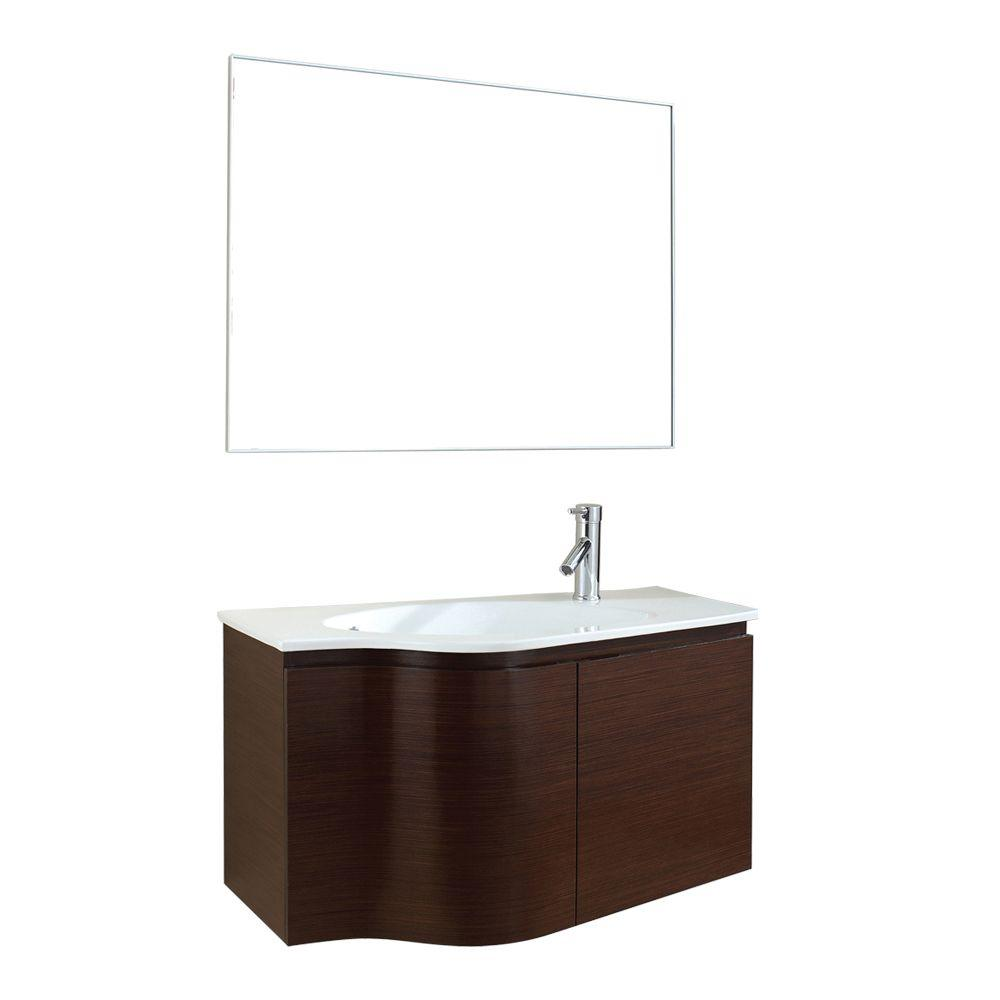 Virtu USA Roselle 35.4 in. W x 19.7 in. D x 18.86 in. H Walnut Vanity With Ceramic Vanity Top With White Round Basin and Mirror