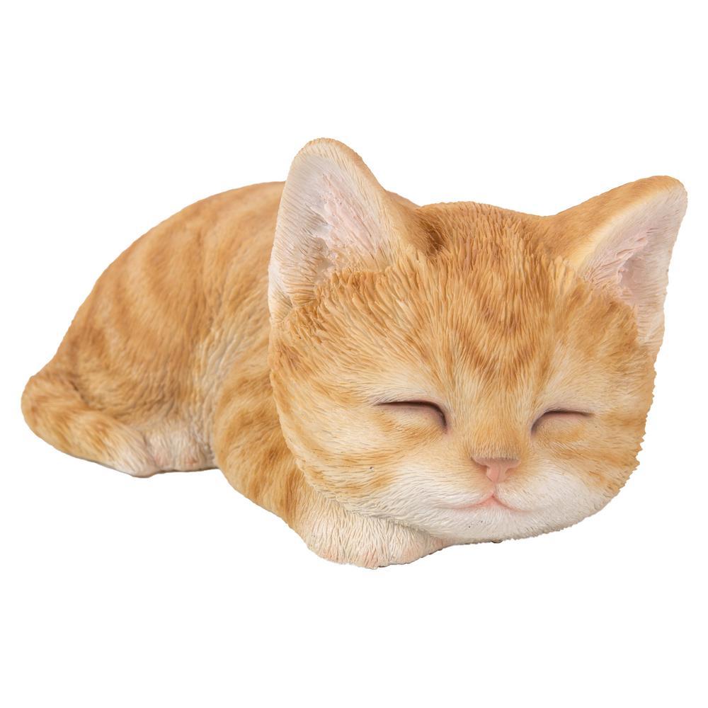 BRAND NEW TABBY SLEEPING CAT GARDEN ORNAMENT
