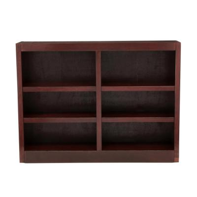 36 in. Cherry Wood 6-shelf Standard Bookcase with Adjustable Shelves