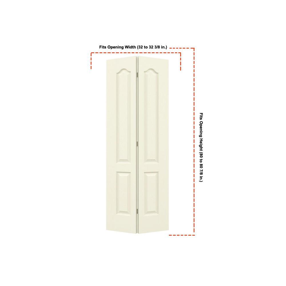 32 in. x 80 in. Camden Vanilla Painted Textured Molded Composite MDF Closet Bi-fold Door
