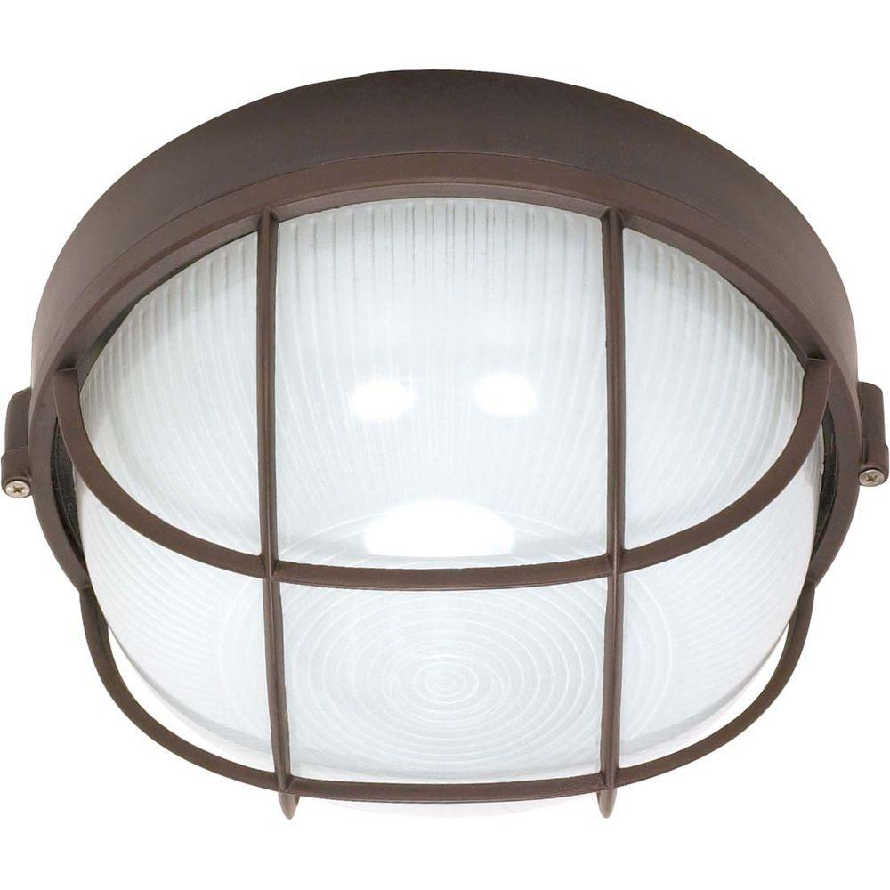 Glomar 1-Light Outdoor Arch. Bronze Round Cage Bulk Head