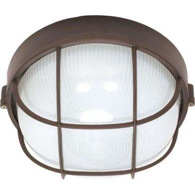 1-Light Outdoor Arch. Bronze Round Cage Bulk Head with Die Cast