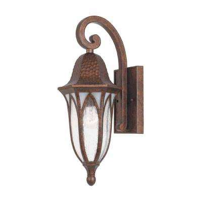 7 in. Burnished Antique Copper Outdoor Wall Sconce with Clear Seedy Glass
