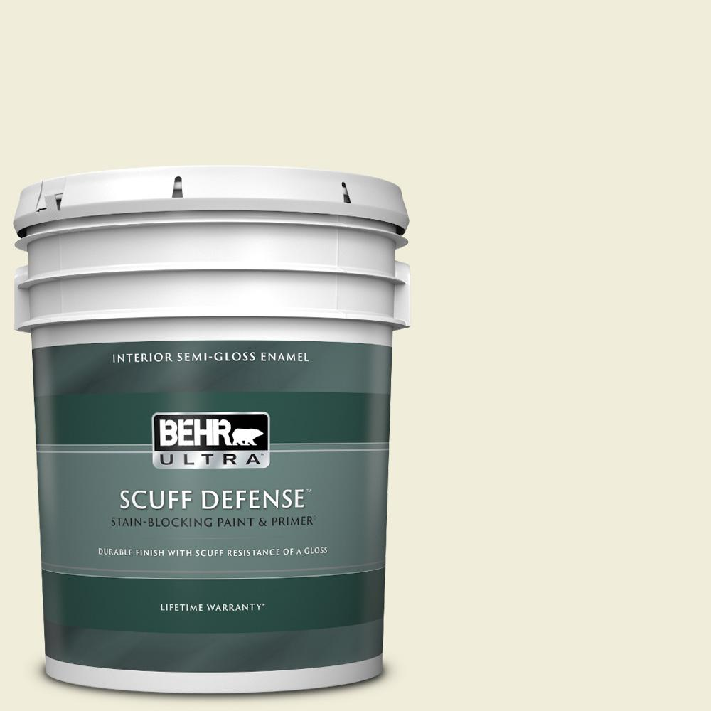 Reviews For Behr Ultra 5 Gal Ppl 30 Soft Moonlight Extra Durable Semi Gloss Enamel Interior Paint Primer 375005 The Home Depot