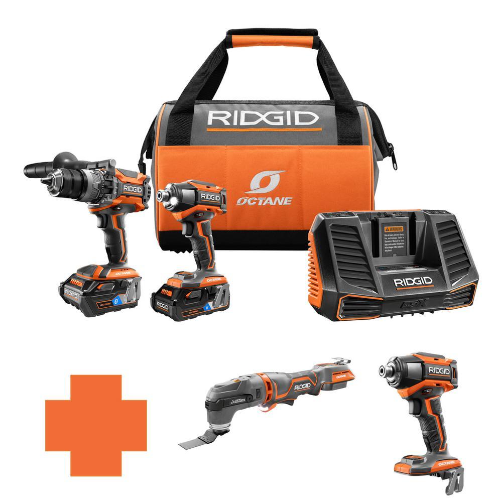 RIDGID 18-Volt OCTANE Lithium-Ion Cordless Brushless Combo Kit w/Bonus Brushless JobMax Multi-Tool & 6Mode 1/4in. Impact Driver