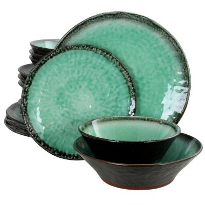 Green Lantern 16-Piece Contemporary Teal Terra Cotta Dinnerware Set (Service for 4)