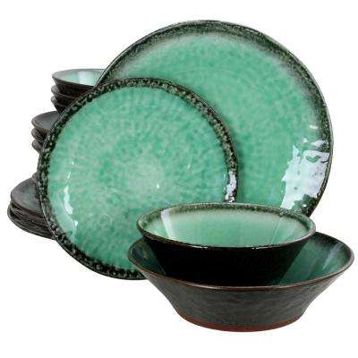 Green Lantern 16-Piece Teal Double Bowl Dinnerware Set