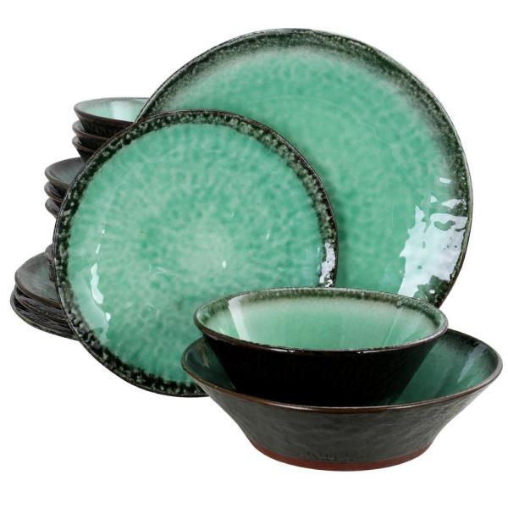 GIBSON elite Green Lantern 16-Piece Teal Double Bowl Dinnerware Set 985104944M