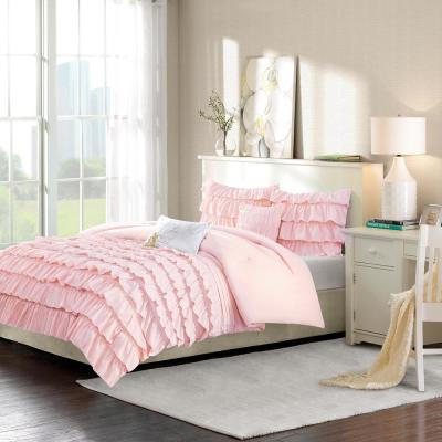 Demi 4-Piece Blush Twin/Twin XL Solid Comforter Set