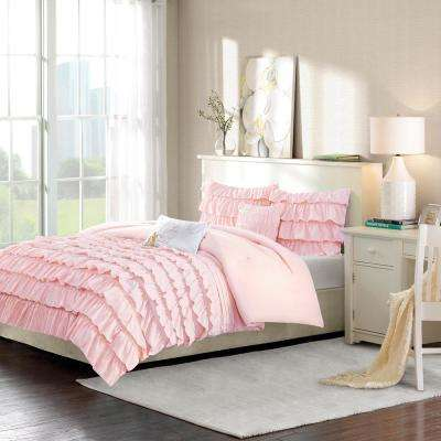 Demi 5-Piece Blush Full/Queen Solid Comforter Set