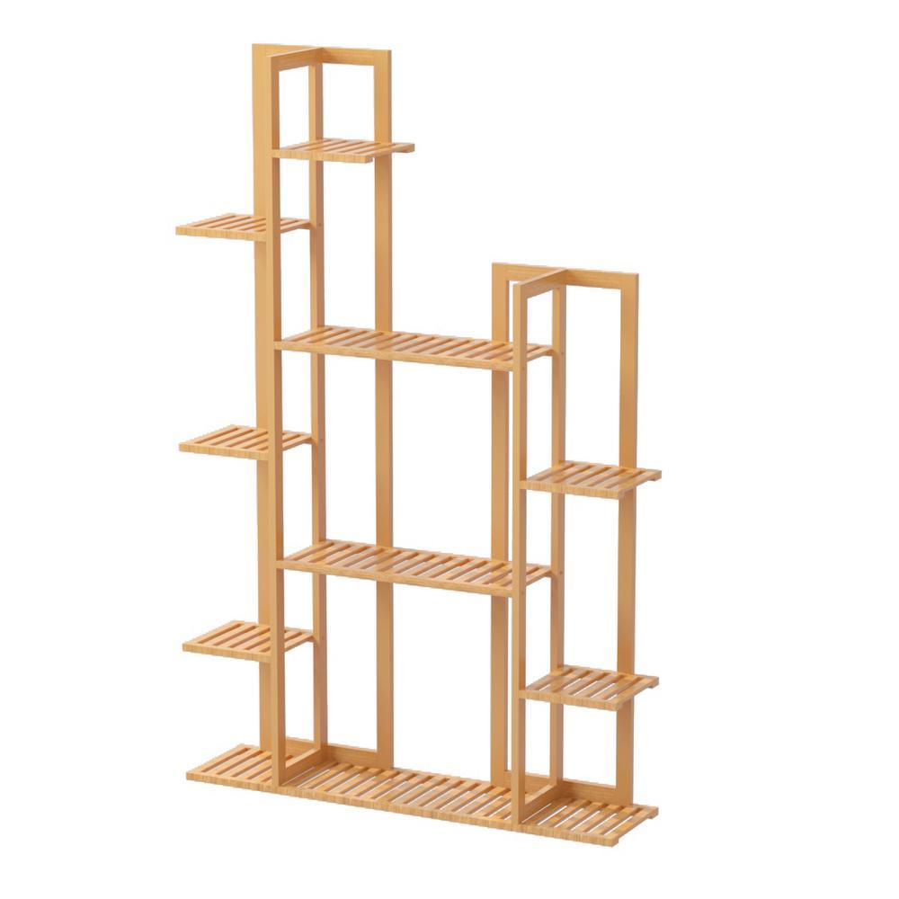 7-Tier Wooden Bamboo Rack Indoor Outdoor Bamboo Shelf Flower Pot Plant Stand