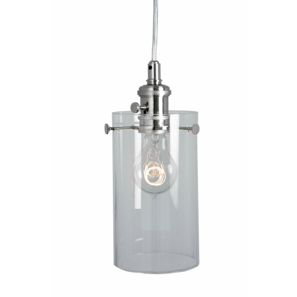 Home Decorators Collection 1-Light Clear Glass Ceiling Cylinder Pendant