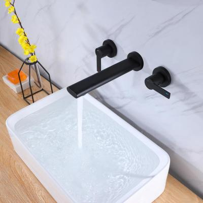 Single Hole Double-Handle Wall-Mounted High Arc Bathroom Faucet in Matte Black