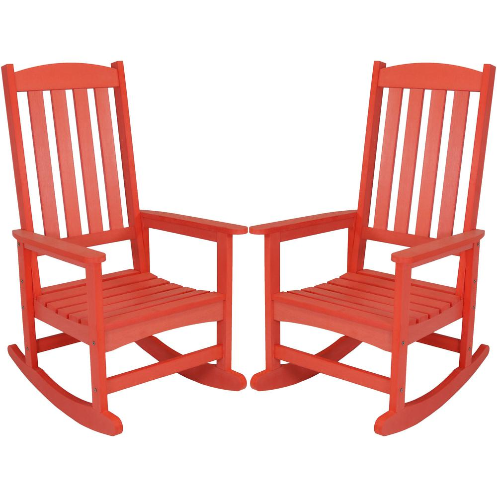 Marvelous Sunnydaze Decor Salmon All Weather Traditional Plastic Patio Rocking Chairs 2 Set Ibusinesslaw Wood Chair Design Ideas Ibusinesslaworg