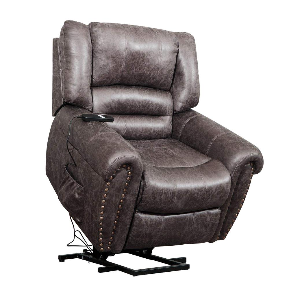 Brown Faux Leather Recliner Power Lift Chair