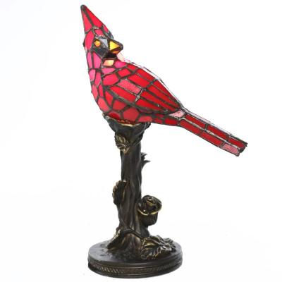 13.5 in. Stained Glass Cardinal Accent Lamp