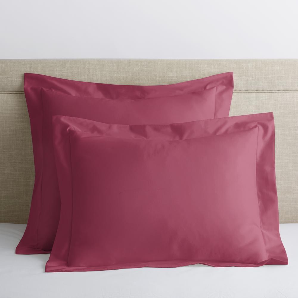 Company Cotton Marsala Solid 300-Thread Count Wrinkle-Free Sateen Standard Sham