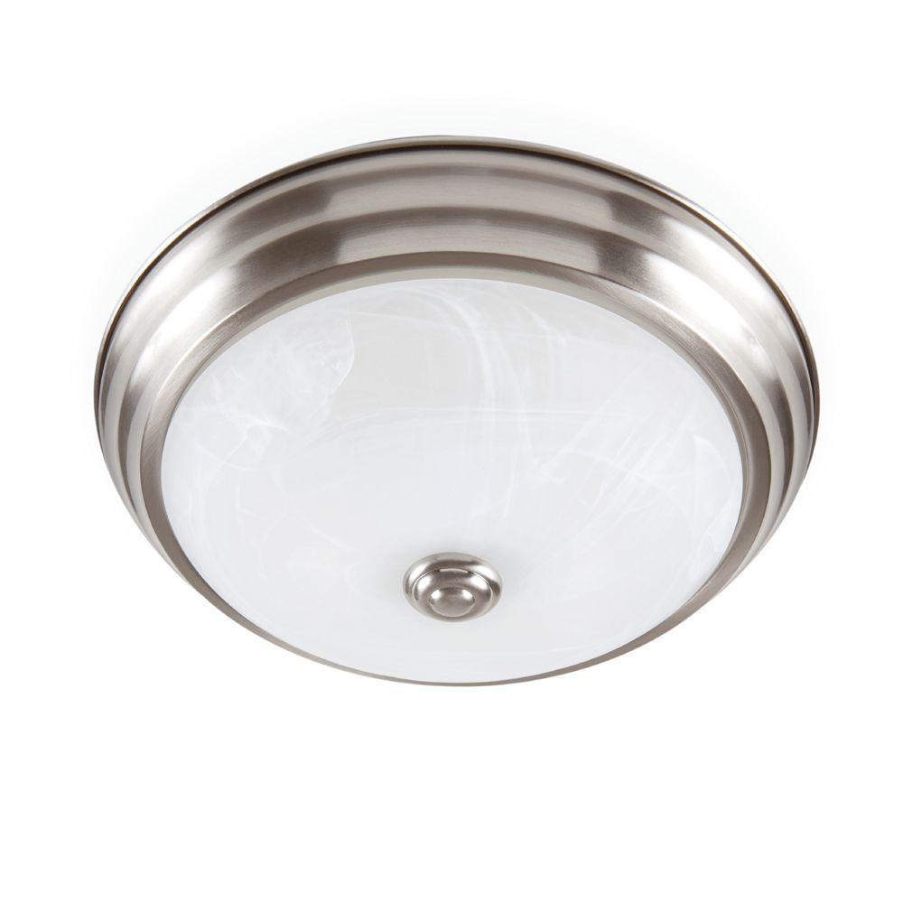 Brushed Nickel LED Flushmount with Alabaster Glass