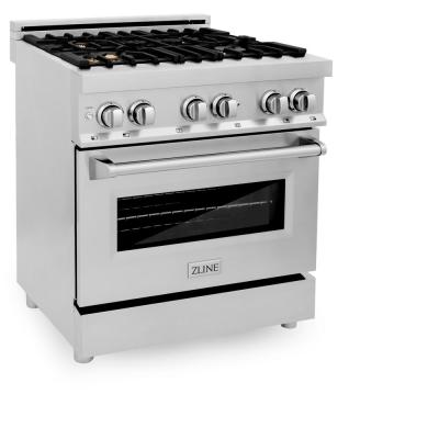 ZLINE 30 in. Professional 4.0 cu. ft. 4 Gas Burner/Electric Oven Range in Stainless Steel with Brass Burners (RA-BR-30)