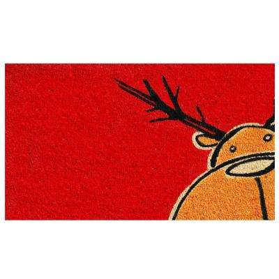Christmas Moose 17 in. x 29 in. Coir Door Mat