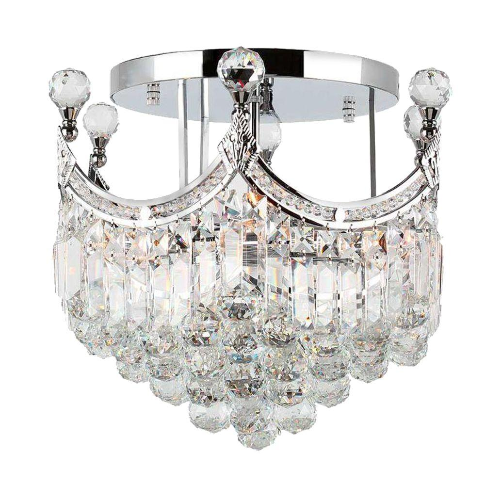 Worldwide lighting empire collection 6 light chrome and clear crystal semi flush mount light Home decorators collection 4 light chrome flush mount