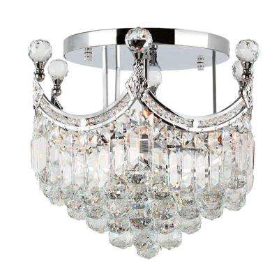 Empire Collection 6-Light Chrome and Clear Crystal Semi-Flush Mount Light