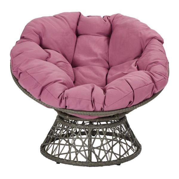 Papasan Chair with Purple Round Pillow-Top Cushion and Grey Frame