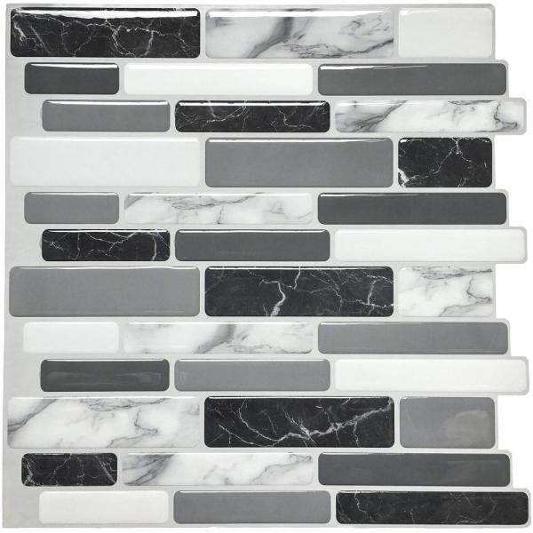 Art3d 12 In X 12 In Peel And Stick Vinyl Backsplash Tile In Grey Marble Design 6 Pack A17042p6 The Home Depot
