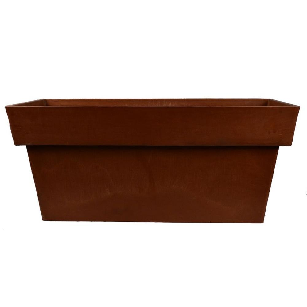 Arcadia Garden Products Stark 32 in. x 13 in. x 14 in. Chocolate (Brown) Window Box This Window Box is an ideal choice for indoors, porches, patios, decks and more. A gently curved rim modernizes the classic silhouette. The PSW Pot Collection is named for its signature material blended from Plastic, Stone and Wood. Color: Chocolate.