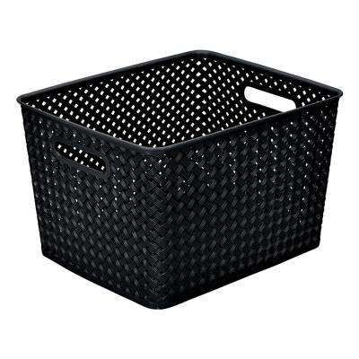 13.75 in. x 11.50 in. x 8.75 in. Large Resin Wicker Storage Bin in Black