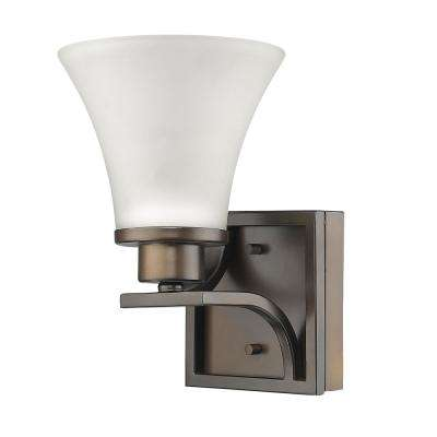 Mia 1-Light Oil-Rubbed Bronze Sconce with Etched Glass Shade