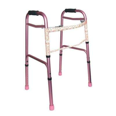 2-Button Release Aluminum Folding Walker with Rubber Tips in Pink
