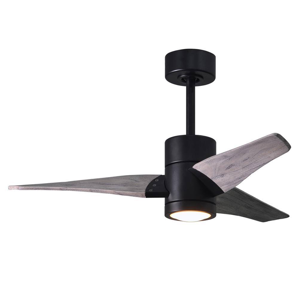 Atlas Super Janet 42 in. LED Indoor/Outdoor Damp Matte Black Ceiling Fan with Light with Remote Control and Wall Control