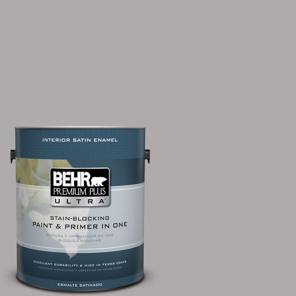 BEHR Premium Plus Ultra 1-Gal. #PPU18-14 Cathedral Gray Satin Enamel Interior Paint
