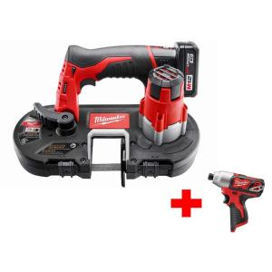 Milwaukee M12 12-Volt Lithium-Ion Cordless Sub-Compact Band Saw XC Kit with Free M12 1/4 In Hex Impact Driver by Milwaukee
