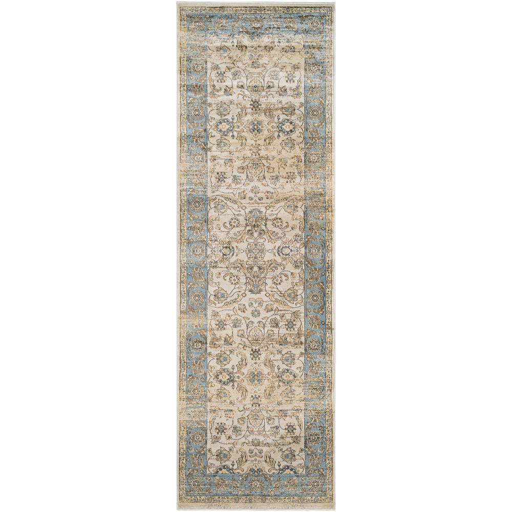 Zahara Embellished Blossom Light Blue-Oatmeal 3 ft. x 8 ft. Runner Rug