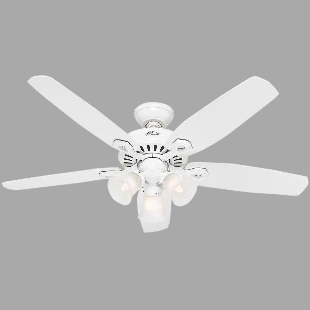Builder Plus 52 in. Indoor 3-Light White Ceiling Fan