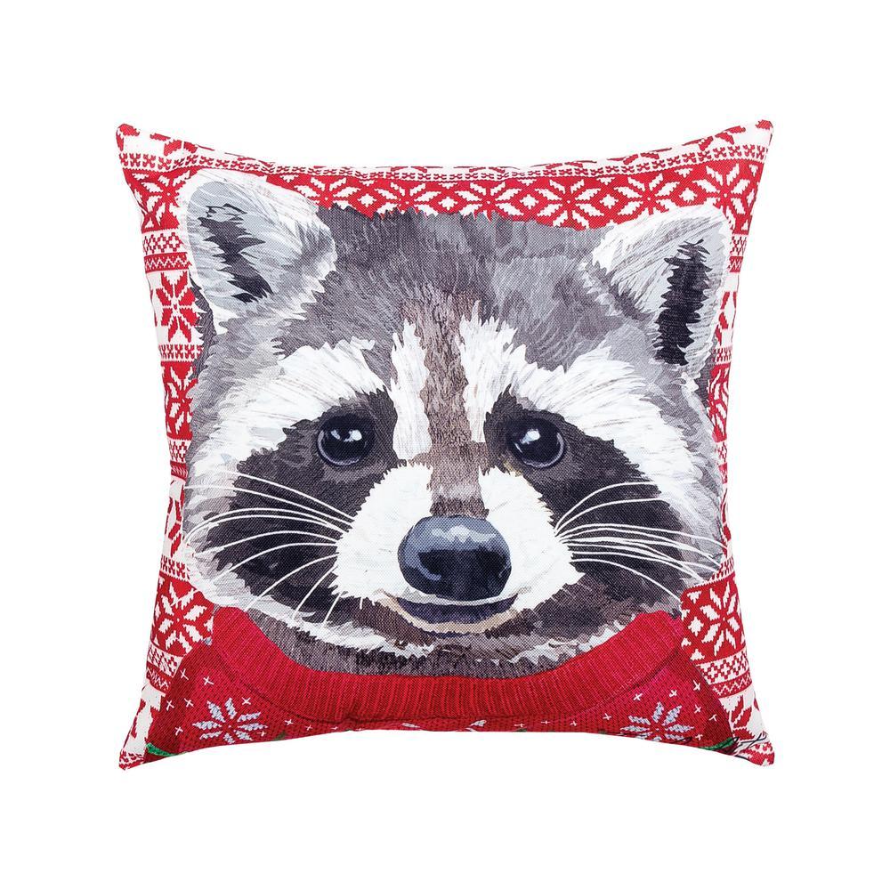 Red Ugly Sweater Raccoon Indoor/Outdoor 18 in. x 18 in. Standard Throw Pillow
