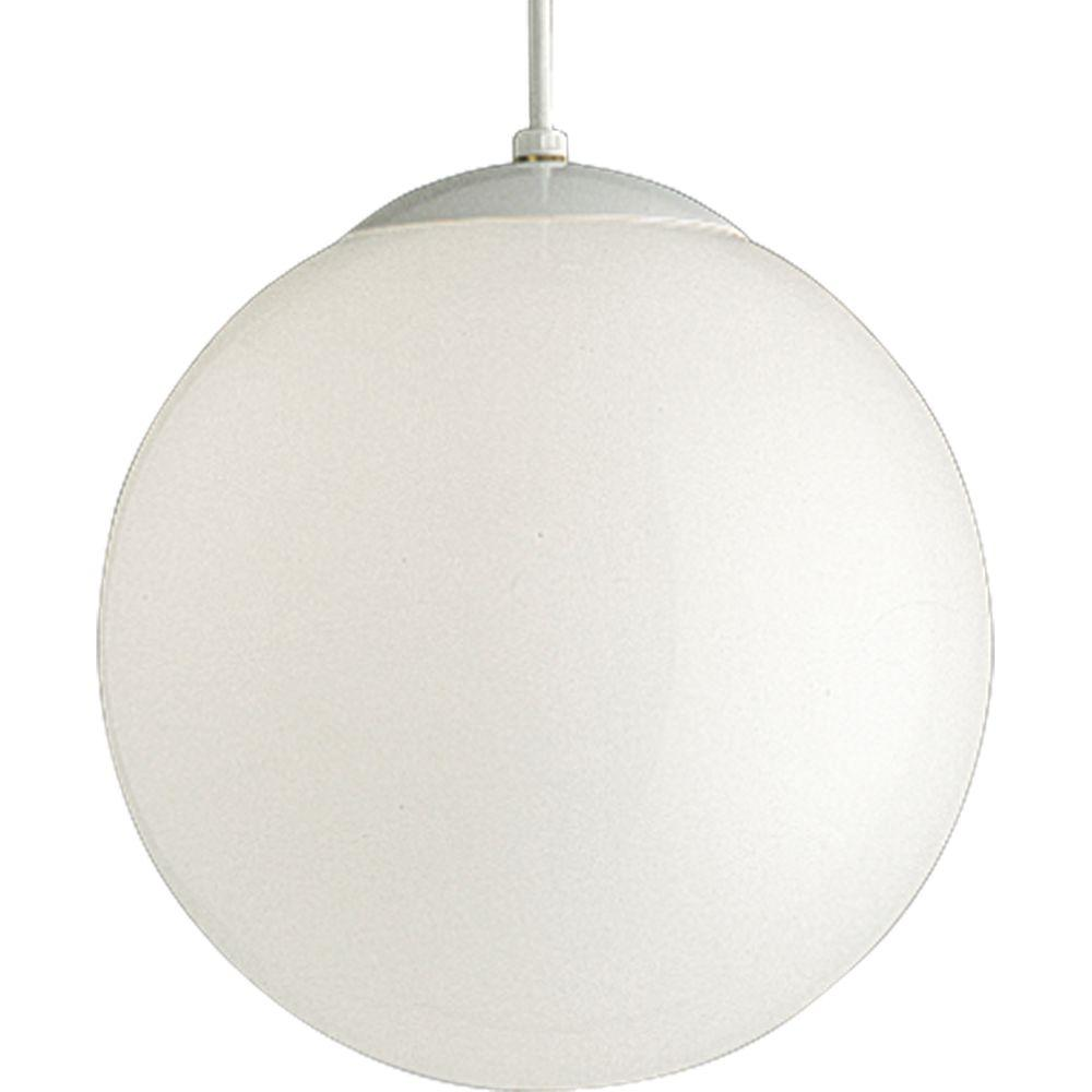 Progress Lighting 1 Light White Pendant With Opal Gl