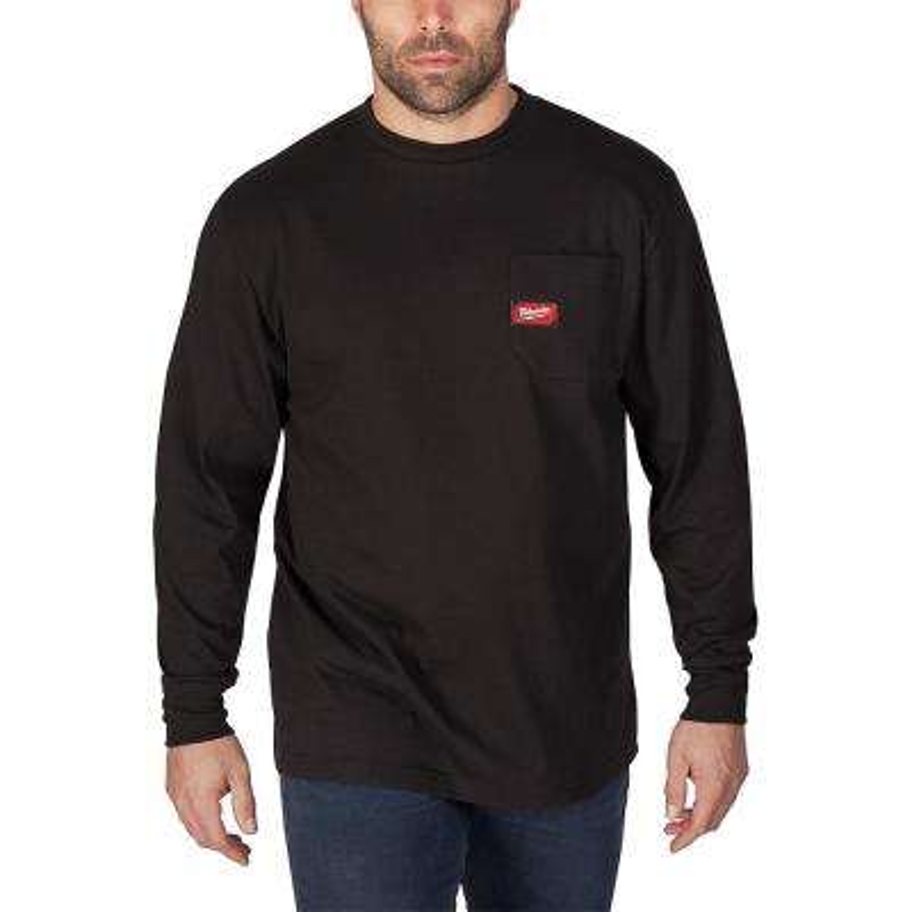 Men's Large Black Heavy Duty Cotton/Polyester Long-Sleeve Pocket T-Shirt