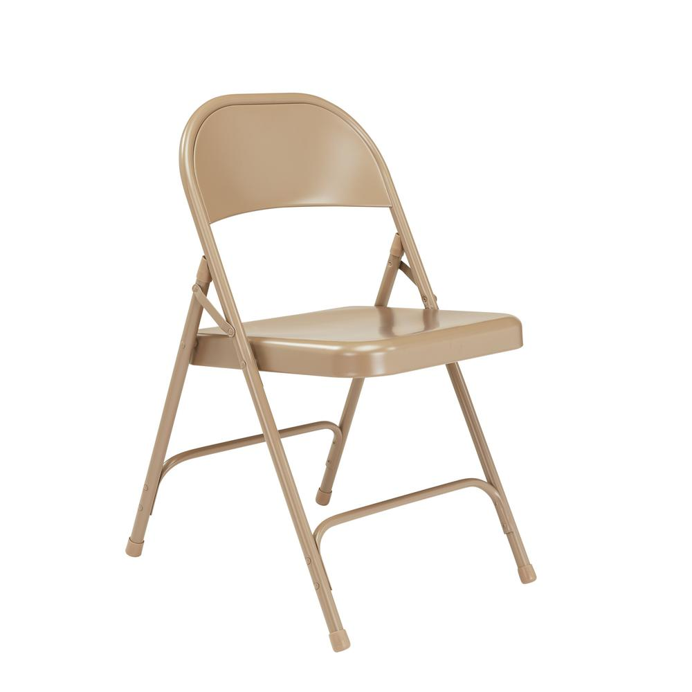 NationalPublicSeating National Public Seating 50 Series Beige All-Steel Folding Chair (4-Pack)