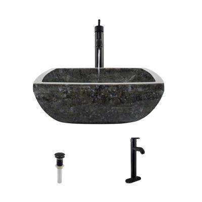 Stone Vessel Sink in Butterfly Blue Granite with 718 Faucet and Pop-Up Drain in Antique Bronze
