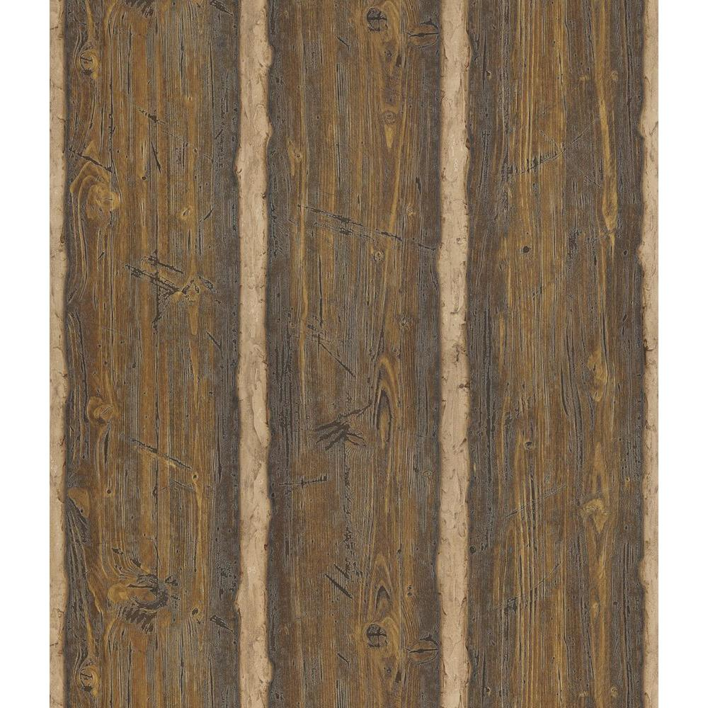 Northwoods Lodge Dark Brown Hewn Log Wallpaper Sample