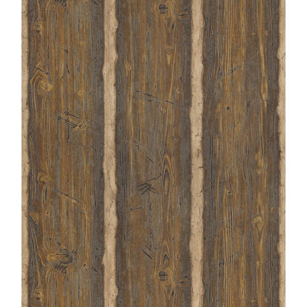 Brewster Northwoods Lodge Dark Brown Hewn Log Wallpaper Sample