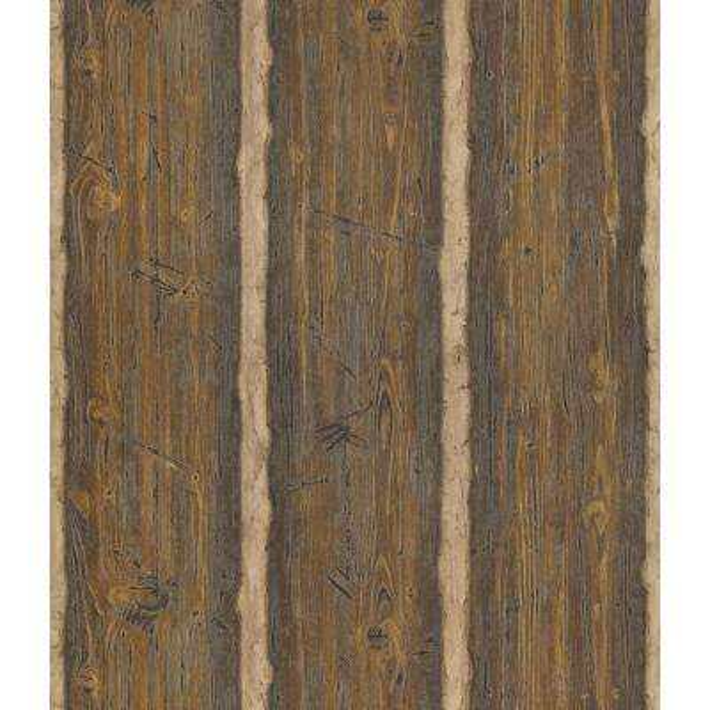 Northwoods Lodge Dark Brown Hewn Log Wallpaper Sample